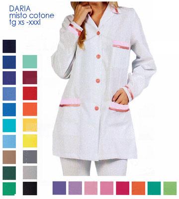 DARIA casacca con bottoni manica corta o lunga. Colletto a camicia. Vestibilità sciancrata. Colori e inserti a contrasto a Tua scelta