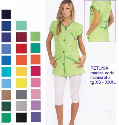 PETUNIA casacca con bottoni manica corta. Vestibilità sciancrata. Colori e inserti a contrasto a Tua scelta