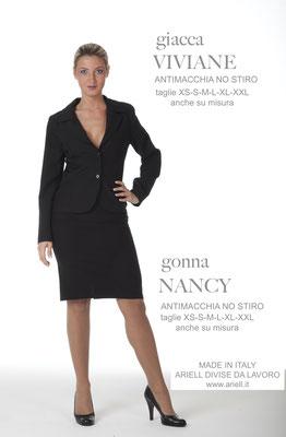 Ariell Divise da Lavoro Giacca Viviane Gonna Nancy tessuto Antimacchia per Parrucchieri oppure tessuto Cady per Front Office