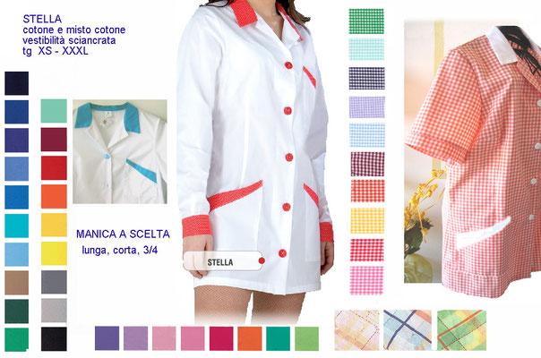 STELLA casacca con bottoni manica corta o lunga. Vestibilità sciancrata. Colori e inserti a contrasto a Tua scelta