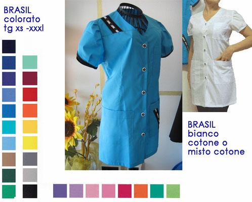 BRASIL casacca con bottoni manica corta. Vestibilità sciancrata. Colori a Tua scelta