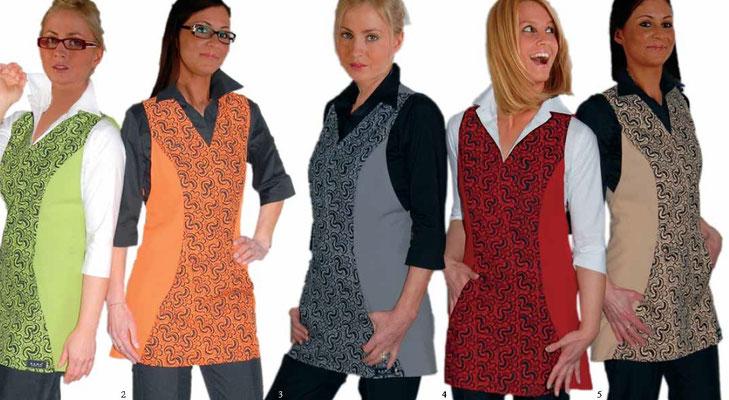 Ariell divise da lavoro art. PIZZO copriabito -  schiena coperta - taglia unica - pizzo stampato - colori arancio, rosso, grigio, cappuccino, verde acido