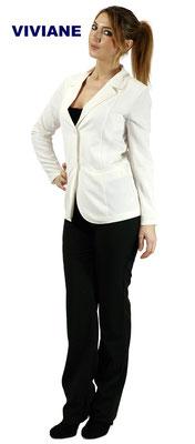 Ariell Divise da Lavoro Giacca Viviane lunga e pantalone Lena tessuto Antimacchia per Parrucchieri oppure tessuto Cady per Front Office