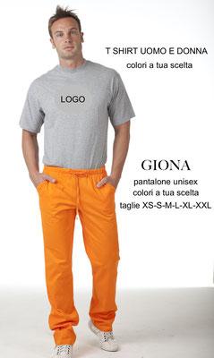 Ariell Divise da Lavoro pantalone Giona con elastico in vita Colori a tua scelta T shirt colori a tua scelta con il logo
