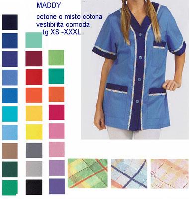 MADDY casacca con bottoni, manica corta o lunga. Vestibilità morbida. Colori e inserti a contrasto a Tua scelta