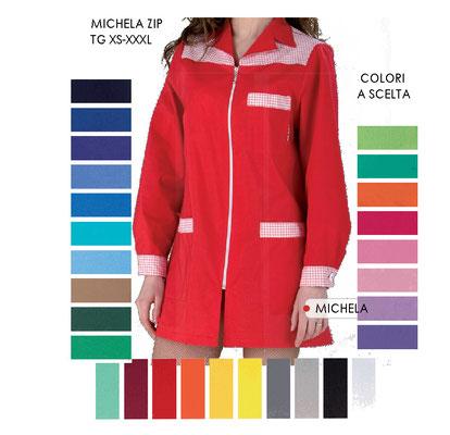 MICHELA casacca con carrè e zip - manica lunga, corta o 3/4 colori e inserti a Tua scelta