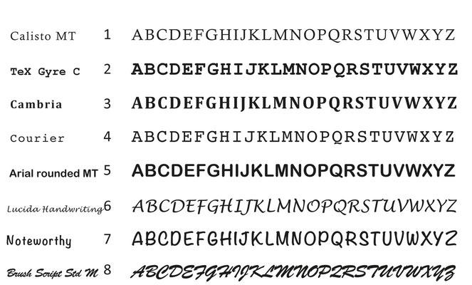 mögliche Schriftarten
