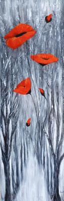 Forêt aux coquelicots, création imaginaire, acrylique 90x30