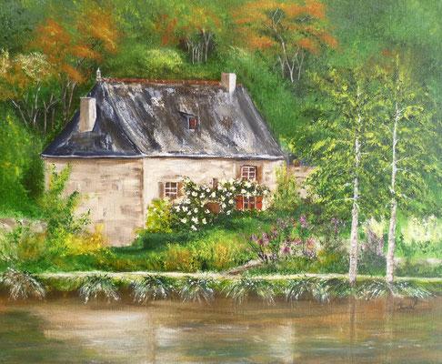 La maison des tisserands, Bécherel, peint sur le motif, acrylique  30x40