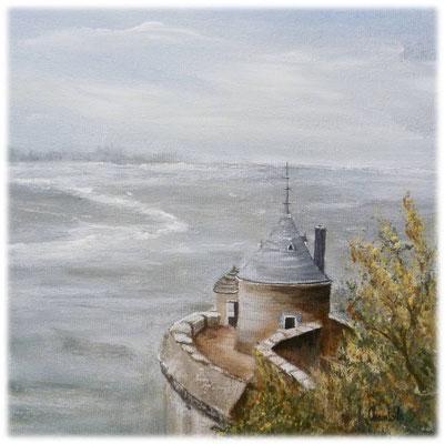 Tour Gabriel au Mont st Michel, acrylique sur toile 20x20