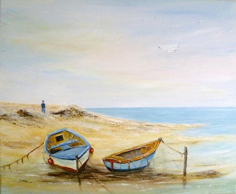 Les 2 barques, d'après photo, acrylique  46x38