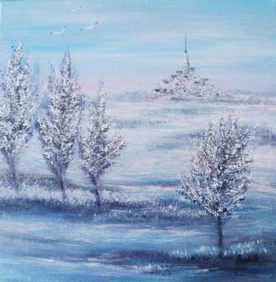 Le Mont st Michel dans le bleu, acrylique sur toile 2018 (30x30)