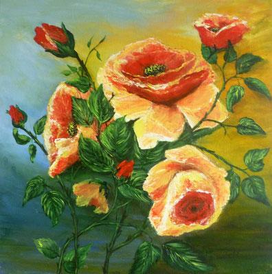 Bouquet de roses, acrylique  40x40