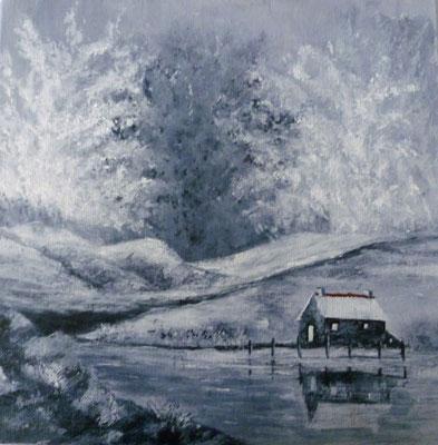 Petite maison au bord de l'eau, acrylique sur toile mars 2018 (30x30)