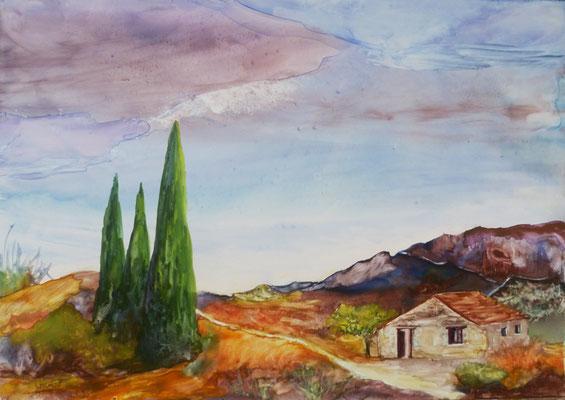 Provence, aquarelle sur feuille Lana Vanguard   (33x23)