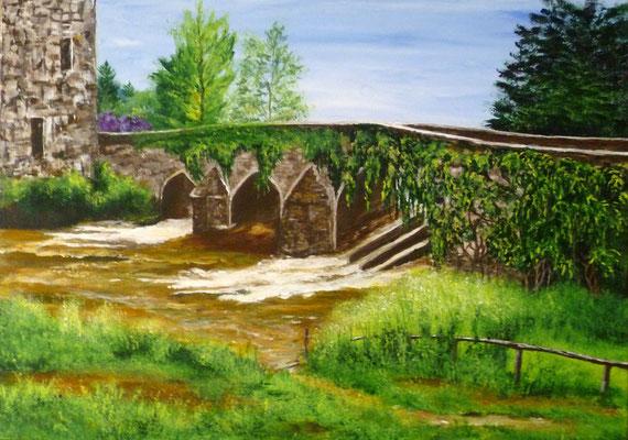 Vieux pont sur le Couesnon, la Fontenelle, acrylique  46x33