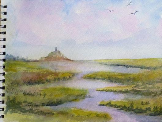 Mont st Michel, aquarelle