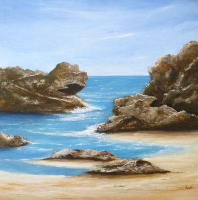 De l'eau entre les roches, création imaginaire, acrylique  50x50