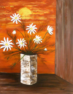 Création florale, acrylique