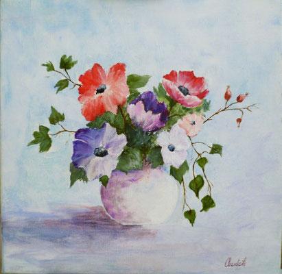 Bouquet d'anémones, acrylique sur toile  30x30