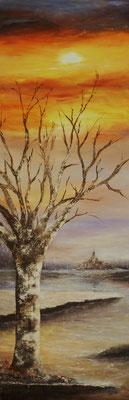 L'arbre du Mt st Michel, acrylique sur toile février 2018 (90x30)