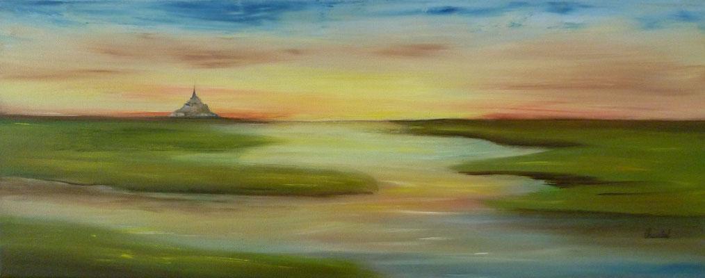 Douceur du soir en Baie du Mont st Michel , création imaginaire,  huile  20x50