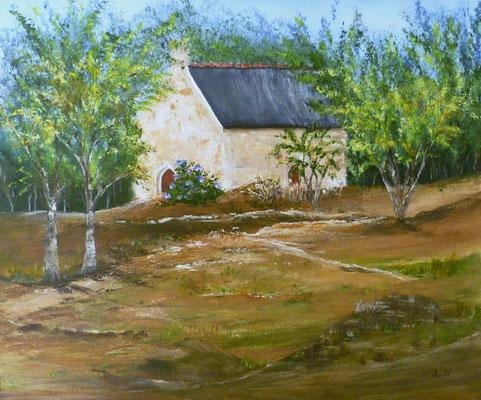 Nichée dans les arbres, Plouisy, peint sur le motif, acrylique, 46x38