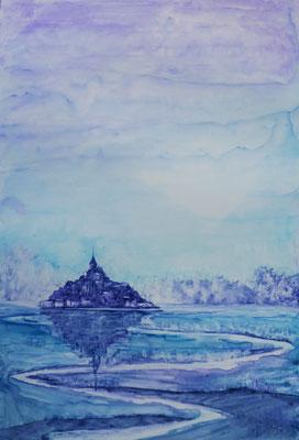 Mont st Michel, aquarelle sur feuille plastifiée, mars 2018
