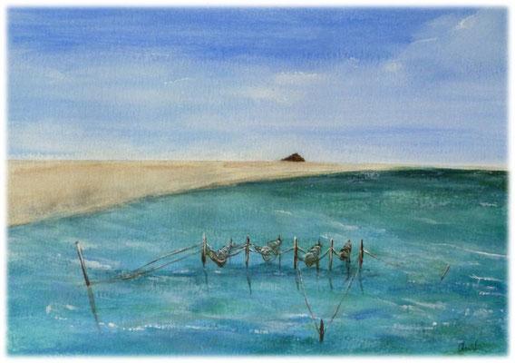 Désures sur la Sélune, Baie du Mt st Michel, acrylique sur papier, 22x19