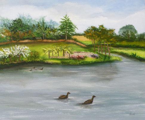 Douceur d'été à Châtelaudren, peint sur le motif, acrylique  46x38