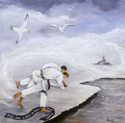 Judokas dans la Baie du Mt st Michel, acrylique sur toile 30x30