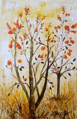 Couleurs d'automne, création imaginaire, acrylique