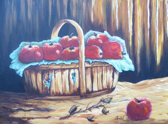 Panier de pommes rouges, acrylique