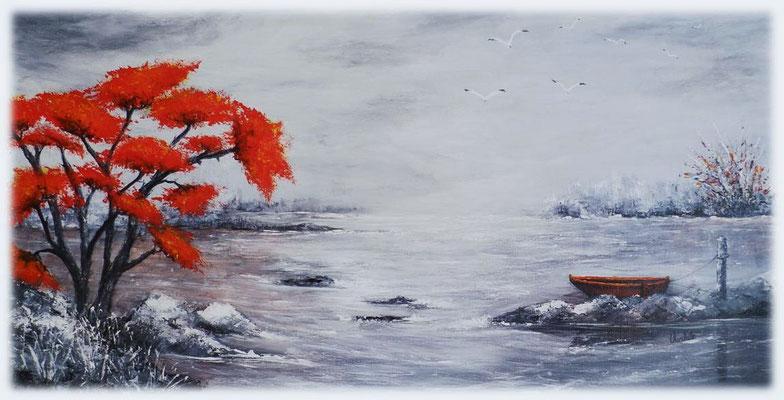 L'arbre rouge, acrylique sur toile  80x40