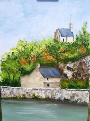 Chapelle à la Roche Derrien, peint sur le motif, acrylique
