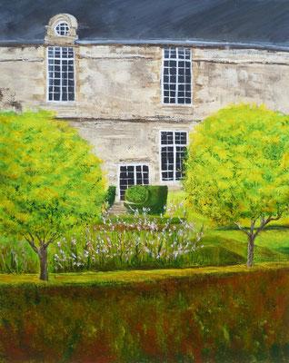 Barrière végétale à Ballue, Bazouges la Pérouse, peint sur le motif, acrylique  46x33