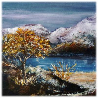 Montagne et lac, acrylique 20x20