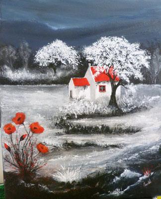 Maisons et coquelicots, création imaginaire, acrylique  41x33