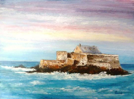 Fort National, st Malo, acrylique sur carton  21x28
