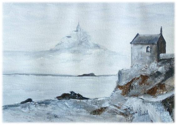 Petit voyage dans la Baie du Mt st Michel, acrylique sur paier  27x20