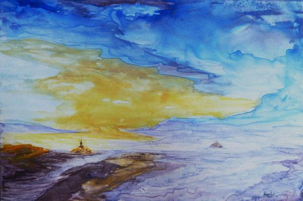 Mont st Michel et Tombelaine, aquarelle sur feuille Lana Vanguard  (21x30)