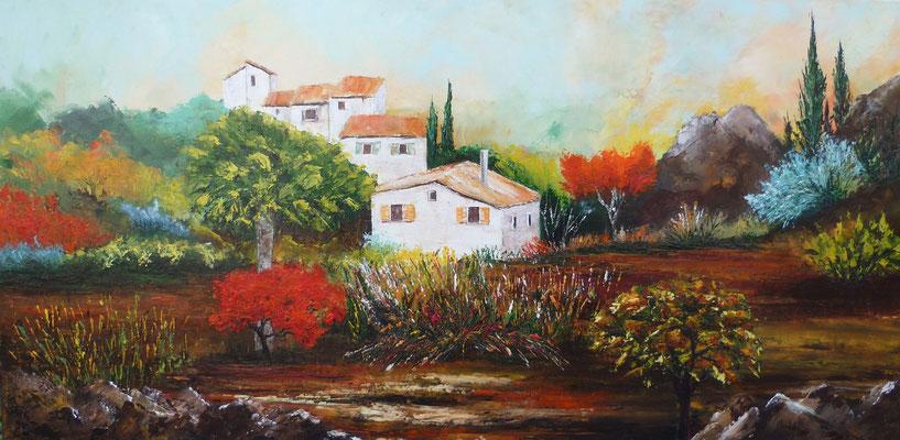 Provence, d'après photo, huile  80x40