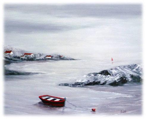 Marine en rouge et noir, acrylique sur toile  46x38
