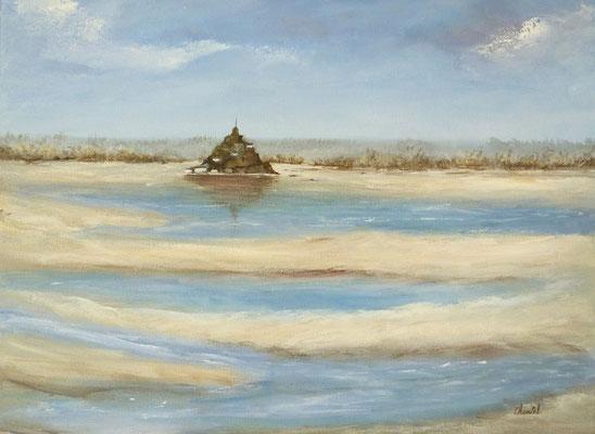 Mont saint Michel, création imaginaire, acrylique  30x40