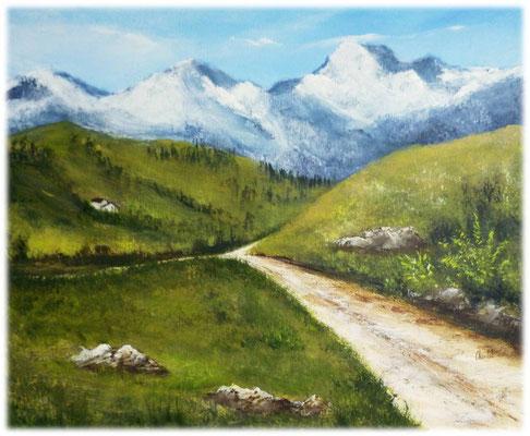 Montagne, acrylique 2016 sur toile,  46x38