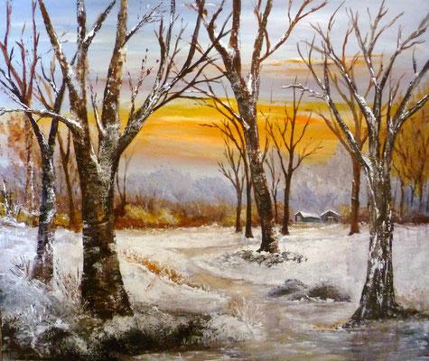 Aube hivernale, acrylique sur toile février 2018 (46x55)