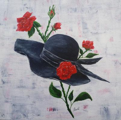 Chapeau noir et roses rouges, d'après photo, acrylique  40x40