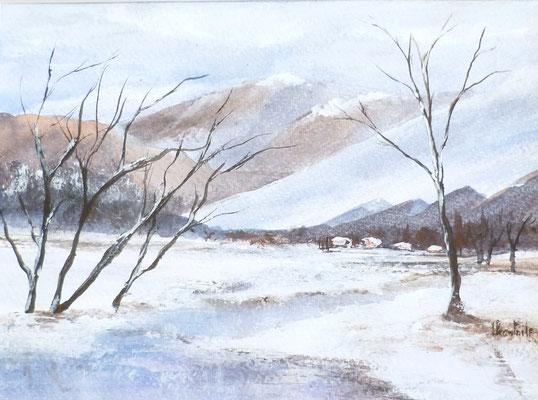 Paysage hivernale, acrylique sur papier coton 2018 (16x20)