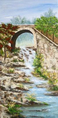 Petite cascade à Quintin, peint sur le motif, acrylique