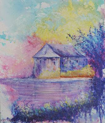 Acrylique sur toile, peint sur le motif, Couleurs de Bretagne, Bécherel